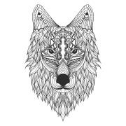 """Наклейка на авто """"Голова волка с узорами"""""""