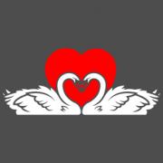 """Наклейка на авто """"Влюбленные лебеди"""""""