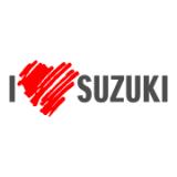 """Наклейка на авто """"Я люблю Сузуки"""" двухцветная"""