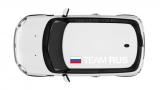 """Наклейка """"Team RUS"""" на крышу автомобиля Мини Купер"""