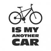 """Наклейка на авто """"Моя другая машина - велосипед"""""""