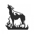 """Наклейка на авто """"Пламенный волк"""""""