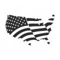"""Наклейка на авто """"Американский флаг. Карта"""""""