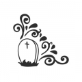 "Наклейка ""Орнаменты для хэллоуина, кладбище"""