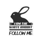 """Наклейка на авто """"I am the white rabbit. Follow me"""""""